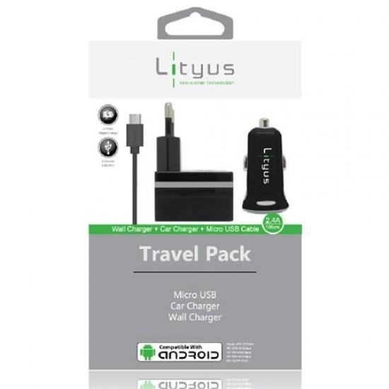 Lityus Şarj Paketi + Micro Usb Kablo (Siyah) - AKLTCS0201