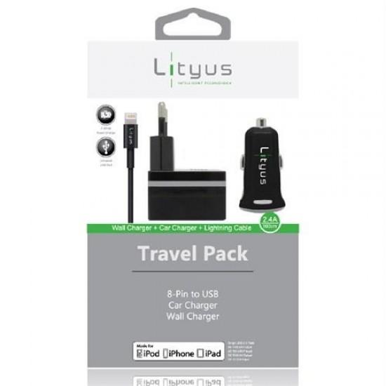 Lityus Şarj Paketi + Lightning Kablo (Siyah) - AKLTCS0101